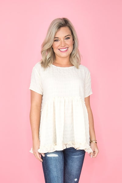 Creped Doll Peplum Blouse