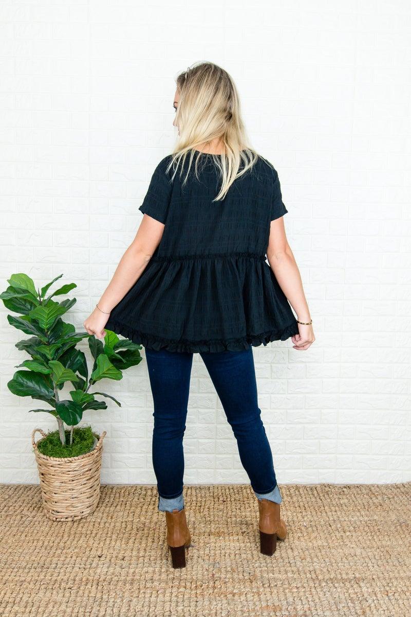 Prettiest Black Fall Blouse
