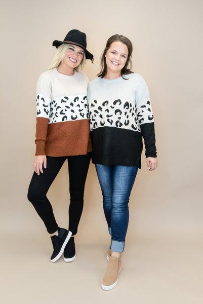 Leopard Block Sweater