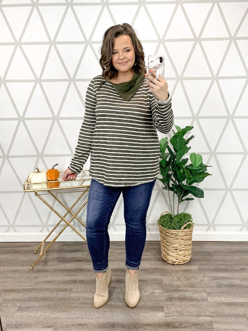 Olive Stripes Layover Top *ALL SALES FINAL*