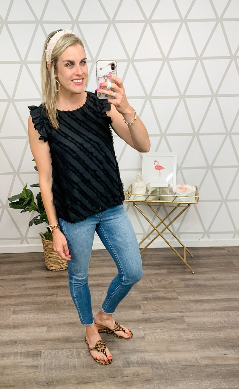 Angle Fringed Black Tank