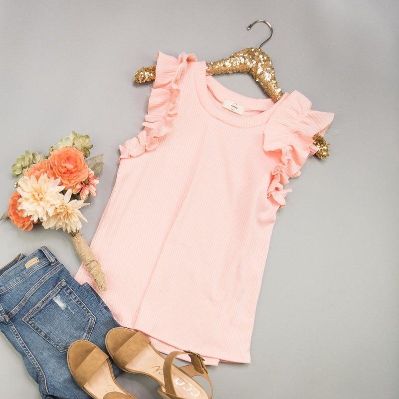 Peach Ruffle Blouse
