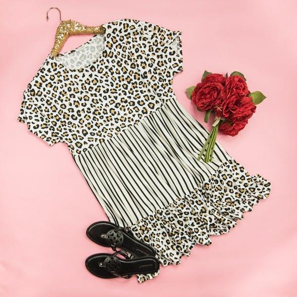 Stripes + Leopard Butter Dress