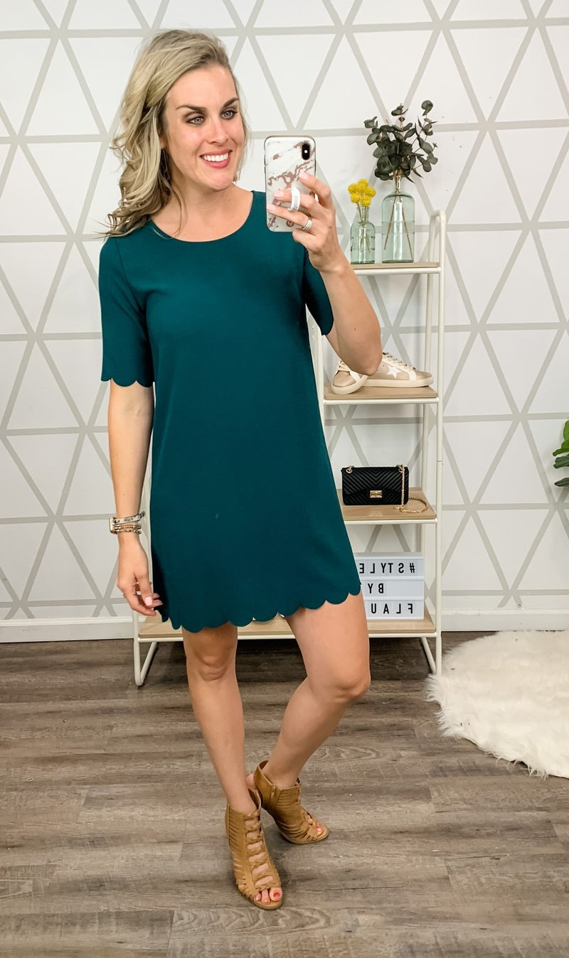 Hunter Green Scalloped Dress