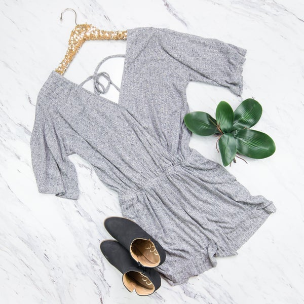 Ribbed Heather Grey Romper *all sales final*