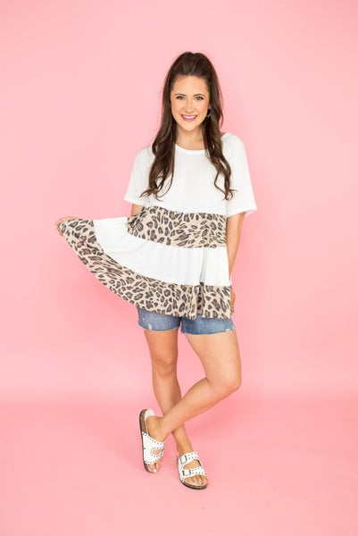 Leopard Tier Waffled Top