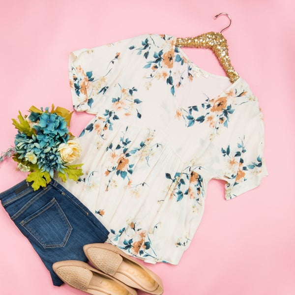 Ivory Floral Blouse *all sales final*