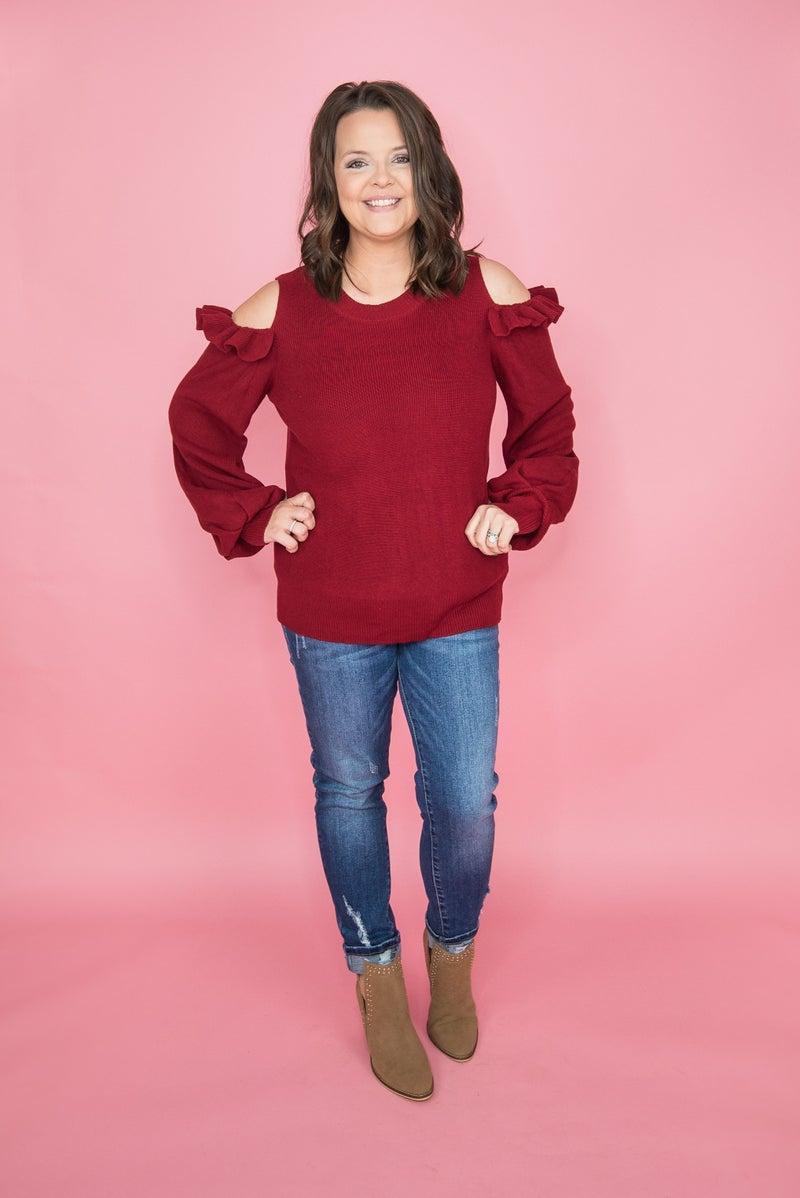 Sassy Ruffle Burgundy Sweater