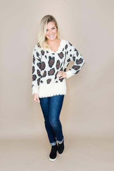 Raw Hem Leopard Sweater *ALL SALES FINAL*