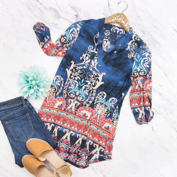 Navy&Coral Blouse
