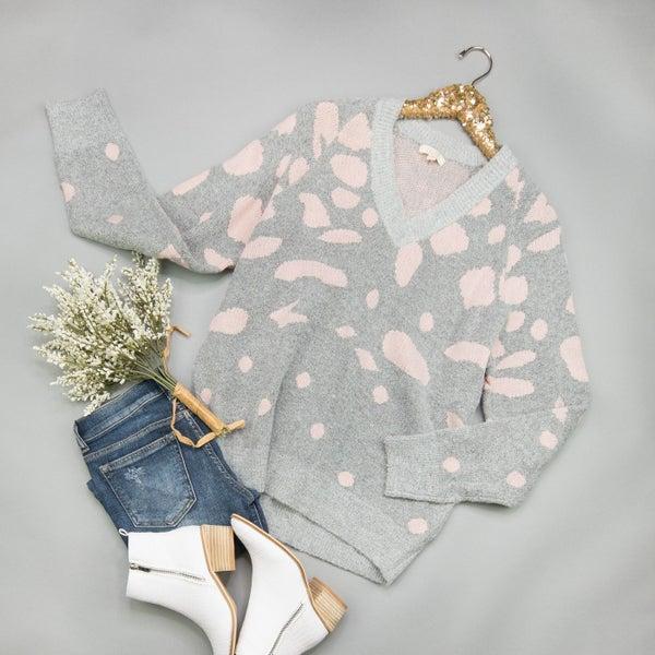 Pink Dottie Sweater *all sales final*