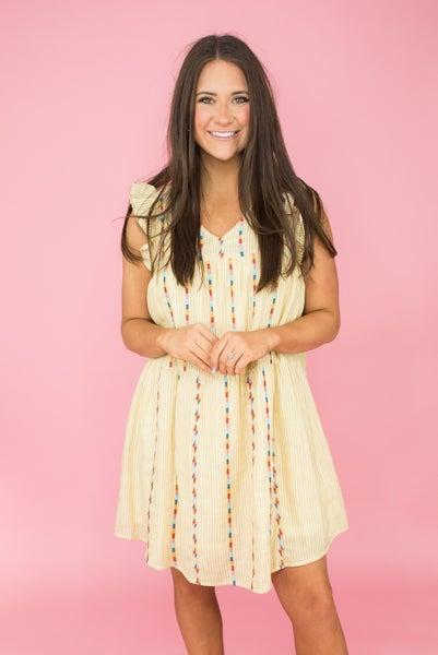 Savanna Jane Mustard Embroidery Dress
