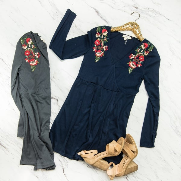 *HAPPY HOUR* Rose Embroidery Dress *all sales final