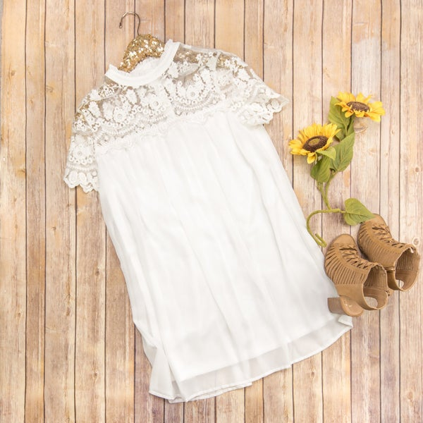 White Lace Accent Dress  *ALL SALES FINAL*
