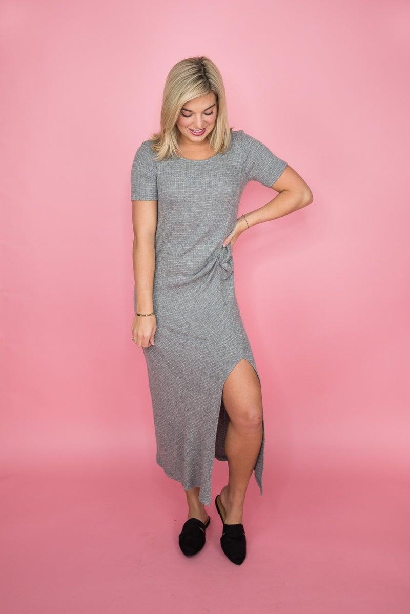 So Chic Gray Midi Dress