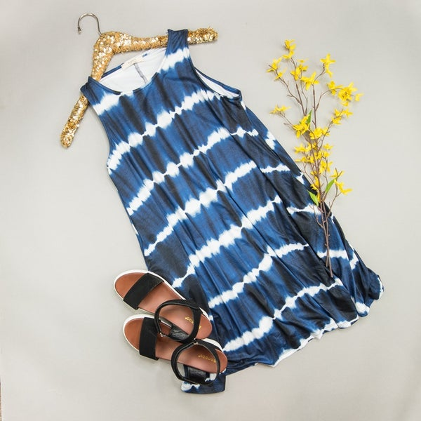 HAPPY HOUR // Dark Navy Waves Dress *all sales final*
