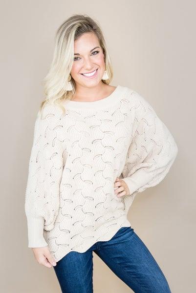 Cream Scalloped Sweater