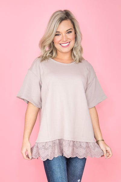 Ruffled Lace Mauve Top