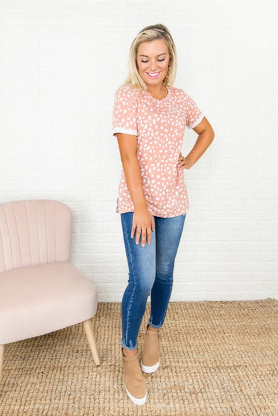 Peachy Rust Spotty Tee *all sales final*
