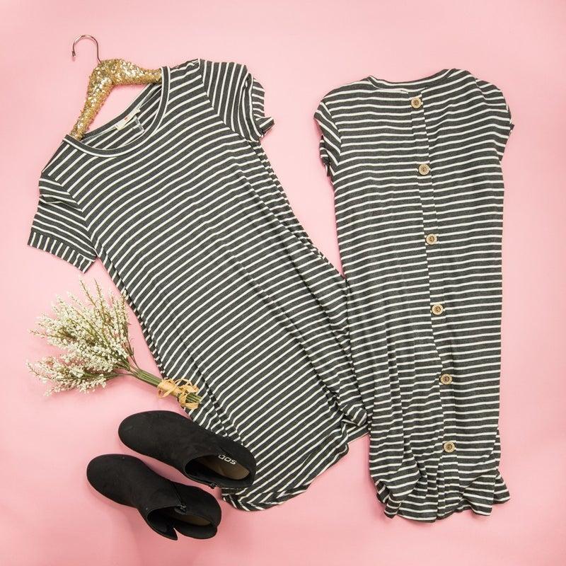 Hidden Button Dress