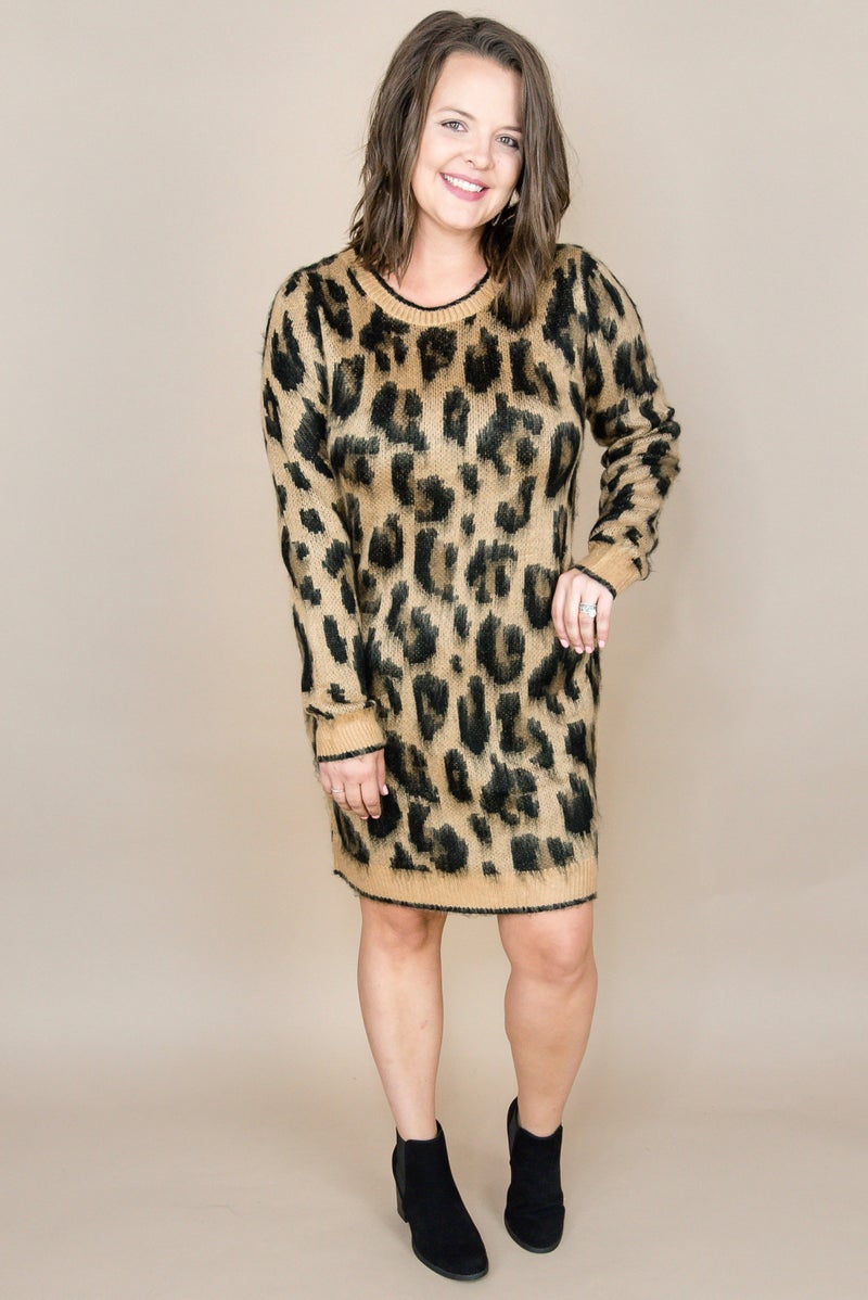 Leopard Sweater Dress *all sales final*