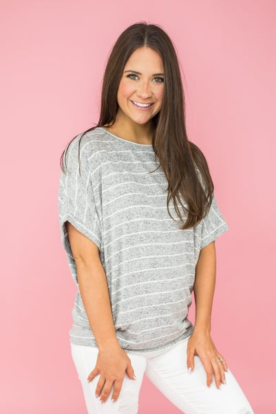 Heathered Stripe Gray Top *Final Sale*