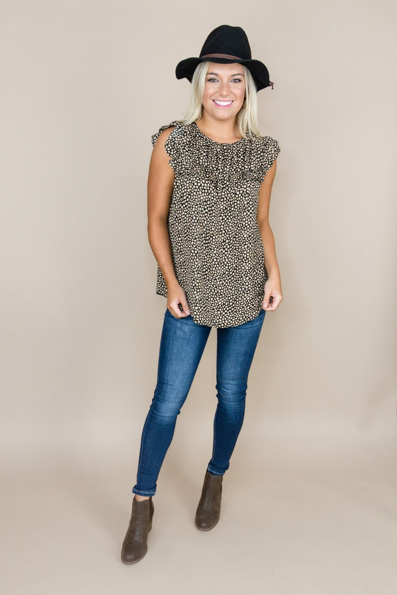 Taupe Dots Blouse