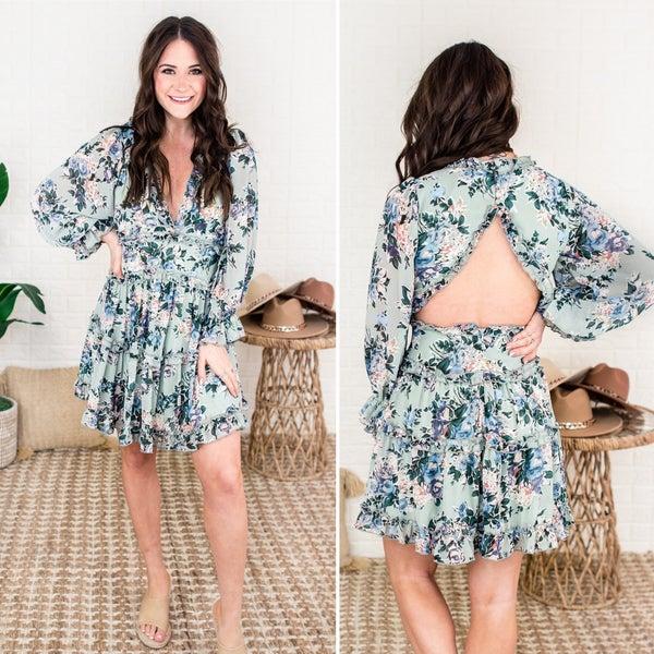 Flirty & Floral Sage Dress