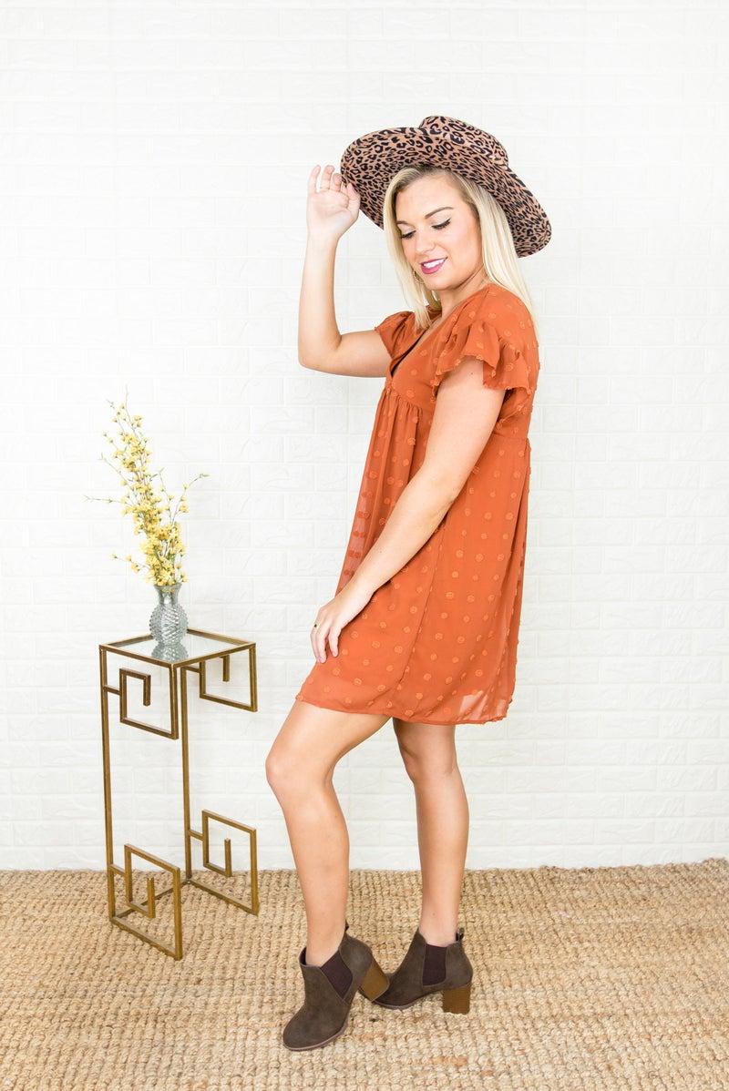 Rust Swiss Dot Dress *all sales final*