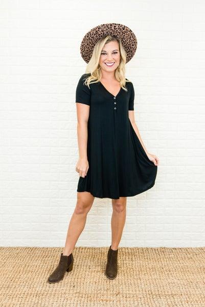 Little Black Button Dress