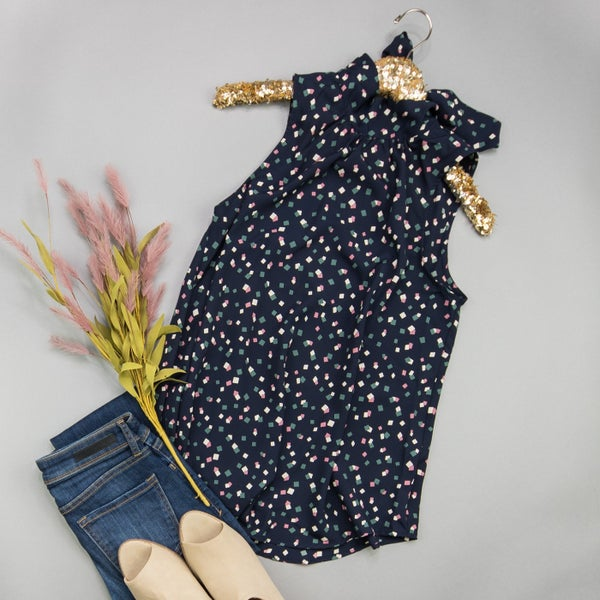 Confetti Pop Navy Blouse