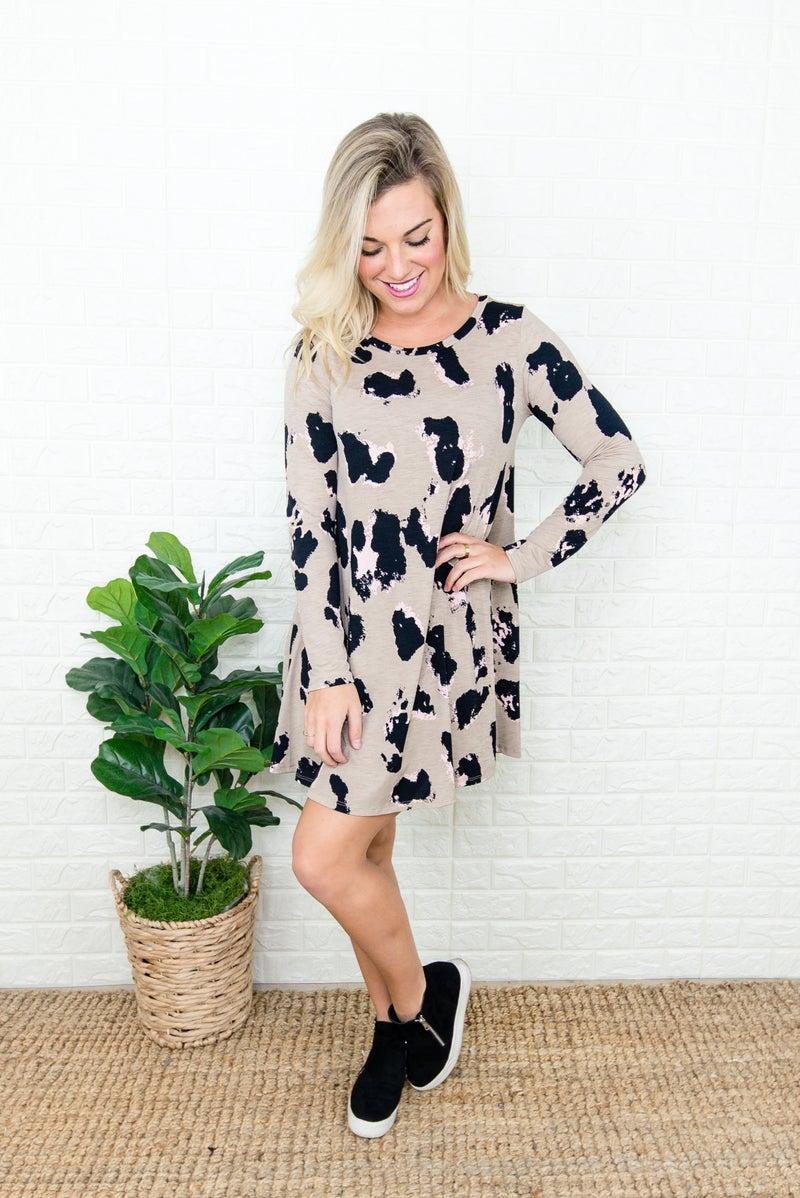 Black Spots Latte Dress