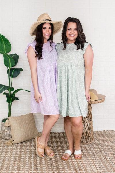 Micro Floral Ruffle Dress