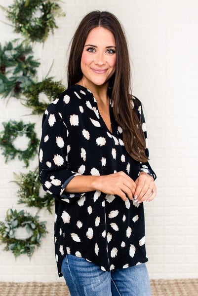 Jumbo Dot Satin Blouse