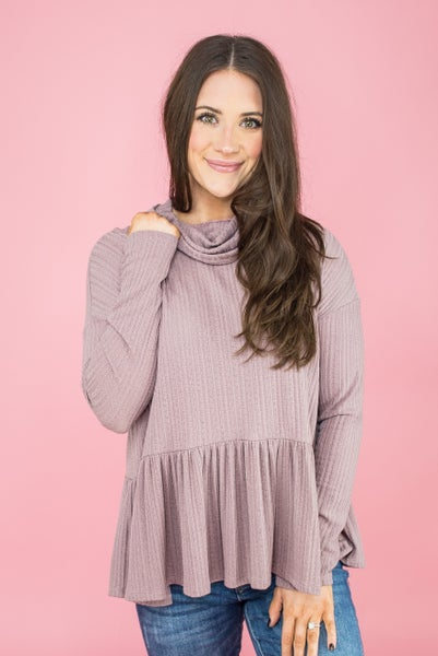 Peplum Ribbed Lavender Top