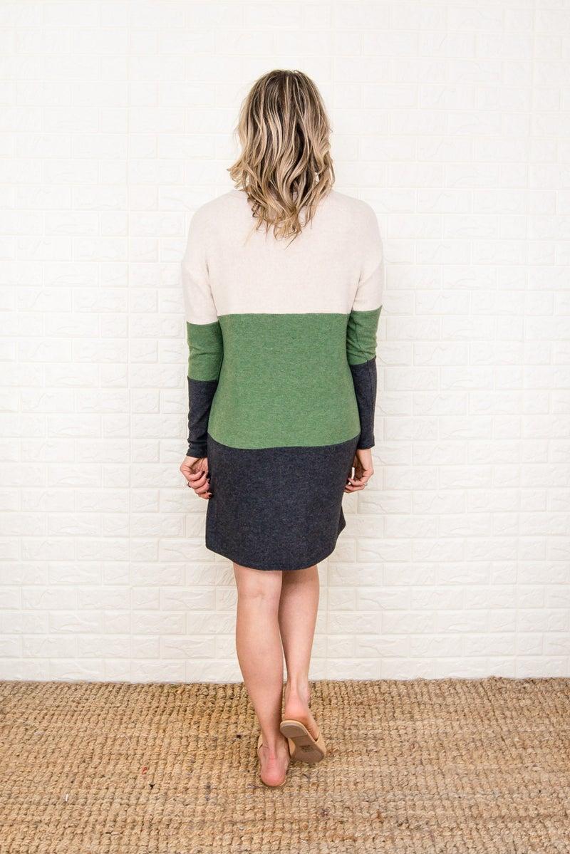 Olive Block Winter Dress