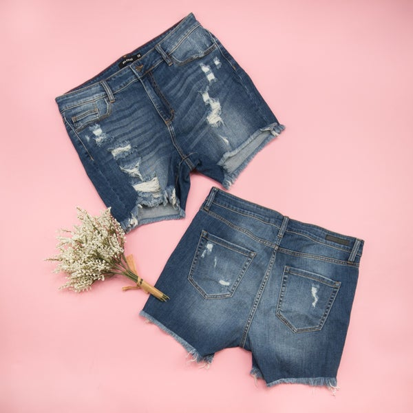 Distressed Denim Shorts - PLUS ONLY