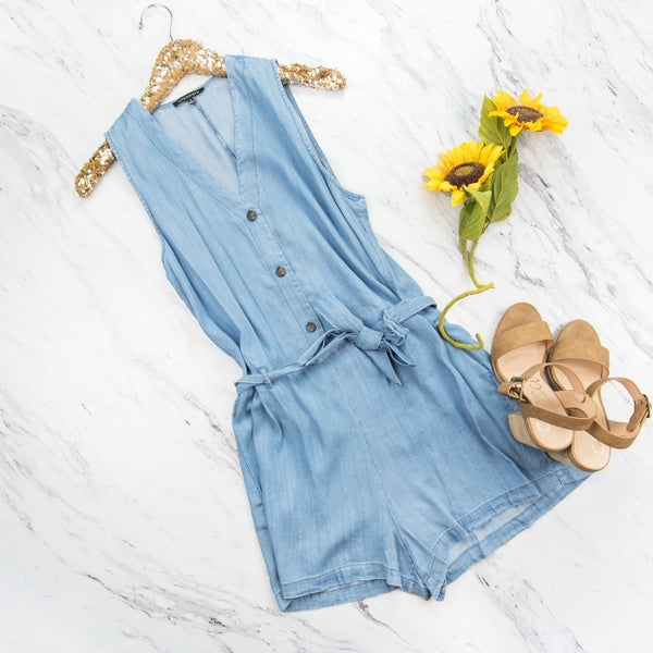 Button Down Denim Romper *all sales final*