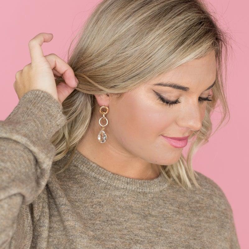 Golden Hoop Drop Jewel Earrings