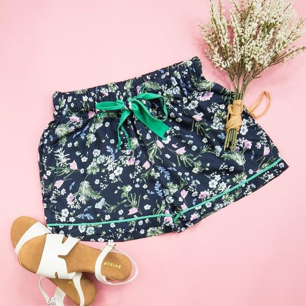 Satin Navy Floral Shorts