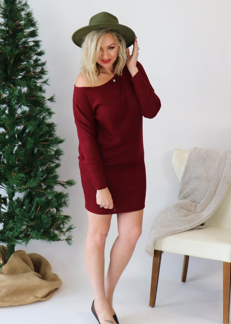 Off Shoulder Sweater Dress: Burgundy