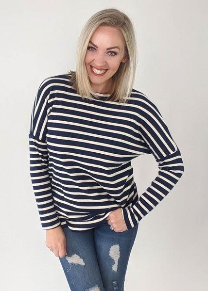 Nautical Navy and White Striped Shirt