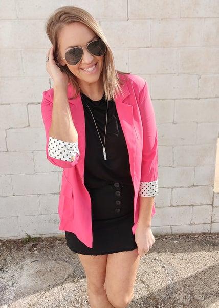 Polka Dot Blazer-Hot Pink