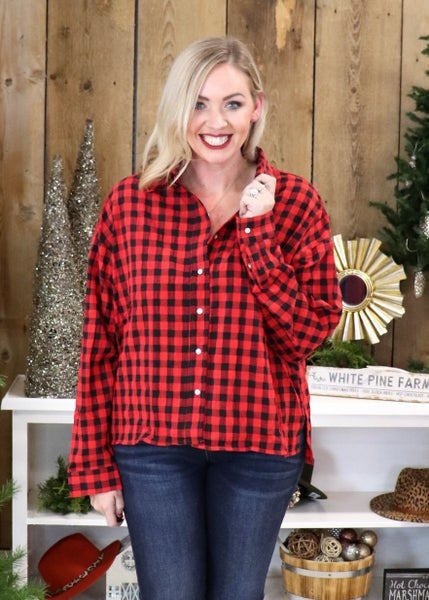 DOORBUSTER: Red Buffalo Plaid Button Top  *Final Sale*