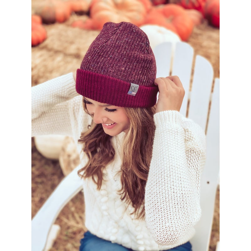 CC Knit Cuffed Beanie: Port *Final Sale*