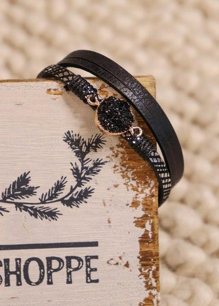 Helen Black Druzy Magnetic Bracelet