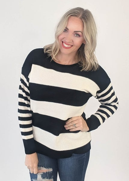 Holiday DEAL - Black & Ivory Striped Sweater *Final Sale*