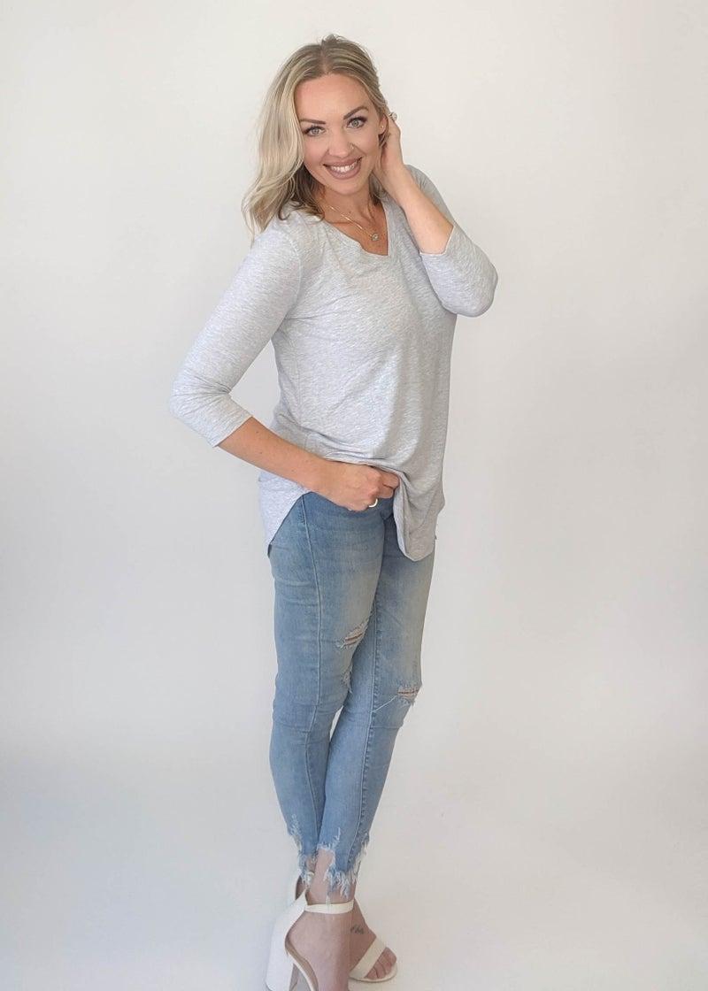 Best Top Ever 3/4 Sleeve - Heather Grey