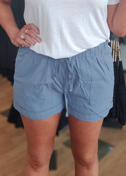 Anna Blue Linen Shorts