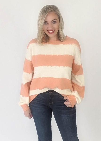 Cream & Peach Stripe Sweater